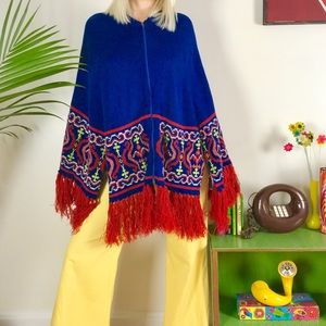 Vintage 70s paisley fringe poncho cape OSFM